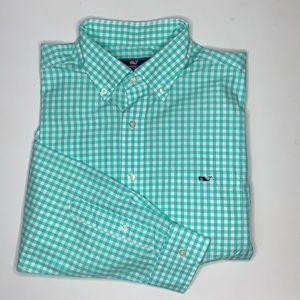 VINEYARD VINES Men's Button-down Mint Green Classic Fit Tucker Shirt SZ L